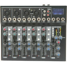 6 Channel PA/DJ Karaoke Mixer–USB/SD Effects Recording FX loop Delay Cross Fade
