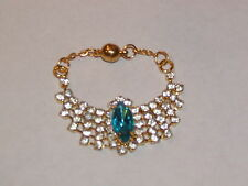 "Blue Center Stone Rhinestone Necklace for Ellowyne and other 16"" dolls"