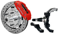 "WILWOOD DISC BRAKE KIT,FRONT,W/WWE 2"" DROP PROSPINDLES,12"" DRLD,RED 6 PISTON CAL"