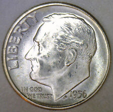 1956 Silver UNCIRCULATED BU Roosevelt Dime Ten Cent Coin from Nice 10c Roll #R