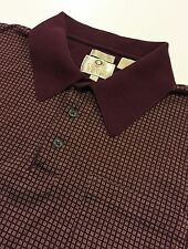VIYELLA Polo Shirt Red Maroon Checker Men's Large Mercerized Cotton