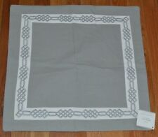 "Pottery Barn Gray White Embroidered Geometric Border Pillow Cover 18"" #18"