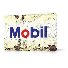 METAL TIN SIGN MOBIL OIL RUSTED Vintage Retro Decor Home Bar Pub Garage Car Shop