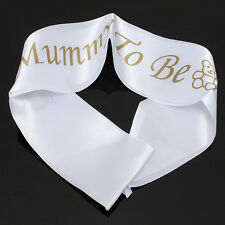 """MUMMY TO BE"" White Satin Sash Banner Ribbon Baby Shower Party Favor Mom 1Pc"