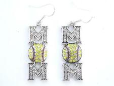 Softball Mom Yellow Clear Crystal Silver Plated Earrings Jewelry Wire Hook