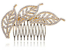 Pretty Golden Crystal Rhinestone Leaf Trio Fashion Jewelry Hair Clip Comb