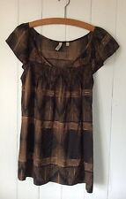 Piper Summer Top Smocked Neckline Capped Sleeve Brown Viscose Blouse Size S 8