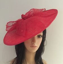 POPPY RED DISC FASCINATOR HAT ASCOT WEDDING OCCASION MOTHER OF THE BRIDE