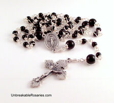 Miraculous Medal Rosary Beads In Black Onyx by Unbreakable Rosaries Wire Wrapped