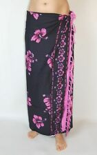 BRAND NEW BLACK AND PINK FLOWER PRINT SARONG BEACH WRAP COVER UP SWIMWEAR /sa173