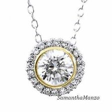 Bezel Set Round Cut Micro Pave Signity Cz Two Tone Pendant Ladies Necklace New