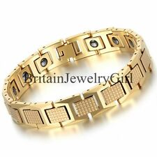 Men's Magnetic Therapy Beads Tungsten Link Wrist  Bracelet, Gold Color, 8.2""
