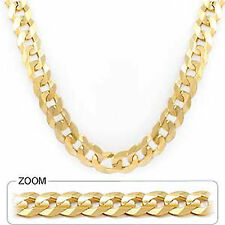 """89.00 gm 14k Gold Solid Yellow Heavy Men's Flat Cuban Necklace Chain 30"""" 9.80mm"""