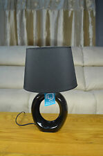 Black Oval Swirl Ceramic Bedside Cabinet Bedroom Living Room Side Table Lamps