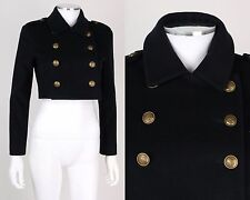 TOMMY HILFIGER MILITARY NAVAL DOUBLE BREASTED CROPPED BLAZER SAILOR JACKET SZ 2