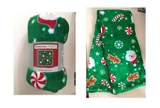 Holiday Time Plush Throw Christmas Green Santa 50 x 60 inches Blanket