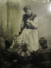 ANTIQUE AMERICAN GIRLS TINTYPE ARTISTIC UNUSUAL VICTORIAN TEACHER PREACH PHOTO