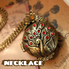 New Vintage Bronze Carved Peacock Crystal Pendant Long Chain Sweater Necklace S5
