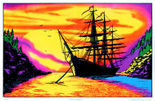 Sunset Bay Ship Flocked Blacklight Poster Art Print Blacklight Poster, 36x24