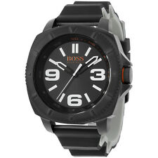 Hugo Boss Orange Black Dial Black Silicone Strap Men's Watch 1513106