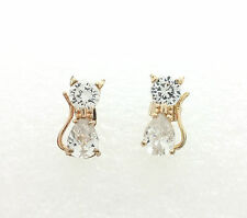 Hypo-allergenic Stud For Sensitive Ears Cubic Zirconia Bowtie Cat Earrings 10