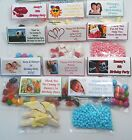 30 Personalised Sweet Bag WRAPPERS Birthday Party Favours POSTED 1st CLASS
