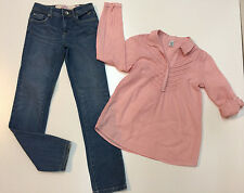 Girl Fall Back To School Outfit Denim Justice Pants & Zara Cotton Shirt Size 12