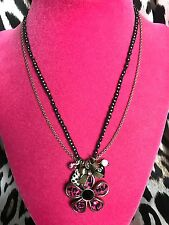 Betsey Johnson Vintage Safari Pink Leopard Lucite Daisy Flower Necklace RARE