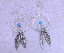 EXOTIC STERLING SILVER TURQUOISE DREAMCATCHER EARRINGS  style# e0639