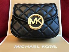 NWT MICHAEL KORS FULTON QUILT SMALL FLAP CROSSBODY BAG IN BLACK