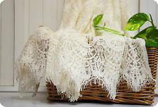 Cream White Lace Fabric Crochet Fabric Eyelash Lace Scalloped Edges