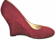 Nine West Wine Pump 6M Maroon Red Leather Suede Wedge Heels Women's NEW