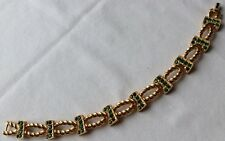 VINTAGE CROWN TRIFARI SIGNED GREEN RHINESTONE BRACELET