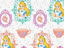 FAT QUARTER  DISNEY ALICE IN WONDERLAND AND TEA CUPS SPRINGS 100% COTTON FABRIC