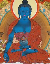 """26"""" BLESSED TIBETAN THANGKA PAINTING POSTER: MEDICINE BUDDHA ON GOLDEN LOTUS"""
