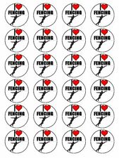 "x24 1.5"" I Love Fencing Foil Sabre Epee Sport Cupcake Topper On Rice Paper"