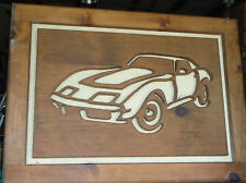 CORVETTE WOOD CARVED PICTURE
