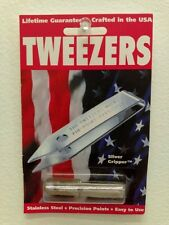 Uncle Bill's Silver Gripper Stainless Steel Tweezers with Clip - Brand New