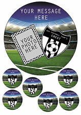 """ANY FOOTBALL TEAM CAKE TOPPER ADD OWN PHOTO/MESSAGE/CREST7.5""""ROUND&TOPPERS ICING"""