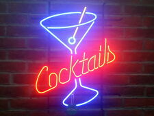 """New Cocktails Martini Neon Sign Bar Wall Decor Light Larger 24""""x20"""""""