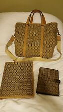 COACH Signature Khaki Draft Carryon Luggage Tote Day Planner & note binder