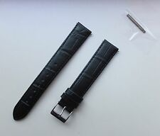 20mm Black XL Extra Long Genuine Italian Leather Matt Finished Watch Band,Strap