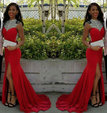 Long Crystal Elegant Side Sleeveless Mermaid Slit Red Prom Dresses Formal Gown