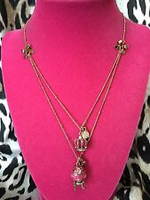 Betsey Johnson Imperial Princess Royal Crown Faberge Egg Pink Crystal Necklace