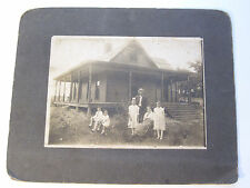 Antique Family Portrait w/Children in front of newly built home America Pre-WWI