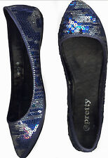 NWOB AQUEAOUS SEQUINED BLUE & SILVER  BALLET FLAT SHOES_S40 /41