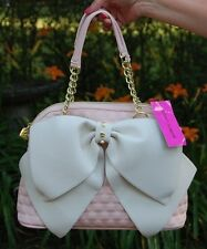 NWT Betsey Johnson Quilted Heart Swag Dome Satchel Bow Nanza Blush Bone