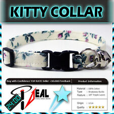 Safety  CAT KITTEN  Breakaway Collar ~ PINK ROSES ON CREAMY BACKGROUND ~