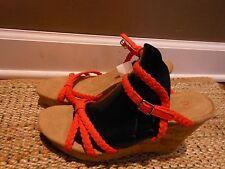 Gap NWT Women's Orange Braided Strap Cork Wedge Platform Strappy Sandals SIZE 10