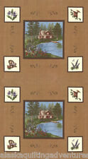 "MODA Quilt Panel ~ LADY SLIPPER LODGE ~ Holly Taylor (6580 12) Tan 24"" x 45"""